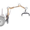 forstkräne für traktor mit hydraulischem greifer und um 360 drehbarem rotor zur handhabung von holzstämmen